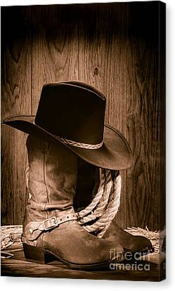Ropes Canvas Print - Cowboy Hat And Boots by Olivier Le Queinec