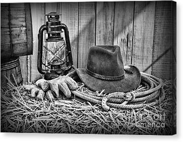 Cowboy Hat And Rodeo Lasso In A Black And White Canvas Print