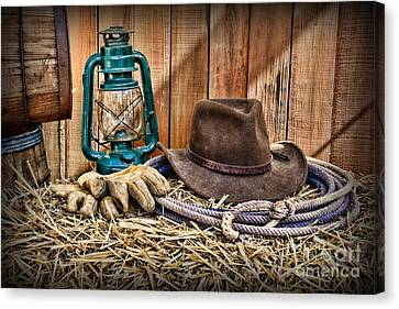 Cowboy Hat And Rodeo Lasso Canvas Print