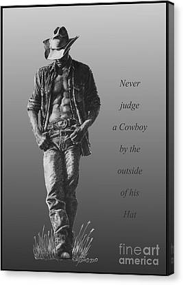 Canvas Print featuring the drawing Cowboy Hat Verse by Marianne NANA Betts