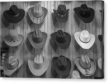 Cowboy Hats On Wall In Nashville  Canvas Print by John McGraw