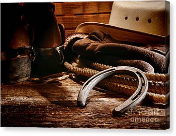 Cowboy Horseshoe Canvas Print by Olivier Le Queinec