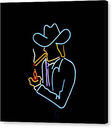 Cowboy In Neon Canvas Print by Art Block Collections