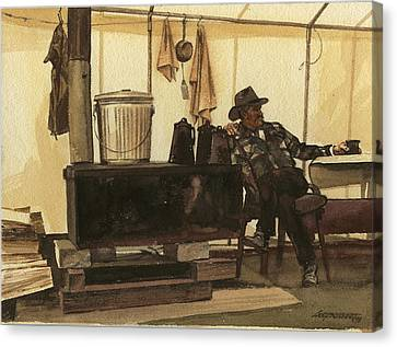 Old Man Canvas Print - Cowboy In Tent By Stove by Don  Langeneckert