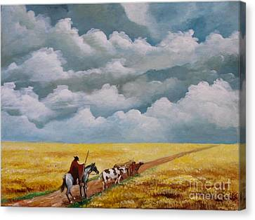 Cowboy In The Pampa Canvas Print
