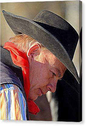 Cowboy In Thought Canvas Print by Barbara Dudley