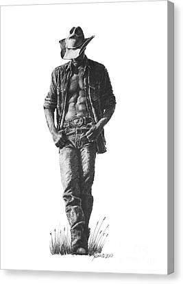 Canvas Print featuring the drawing Cowboy by Marianne NANA Betts
