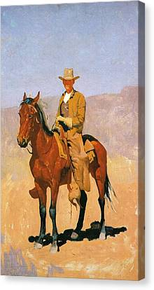 Cowboy Mounted On A Horse Canvas Print by Frederic Remington