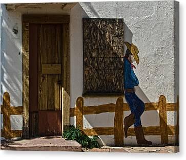 Cowboy Mural In Benson Arizona Usa Canvas Print by Dave Dilli