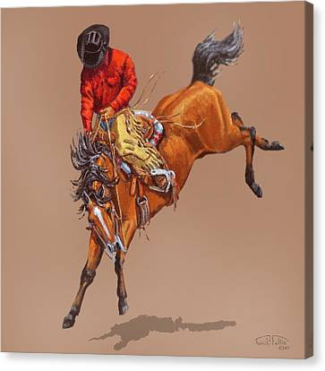 Cowboy On A Bucking Horse Canvas Print by Randy Follis