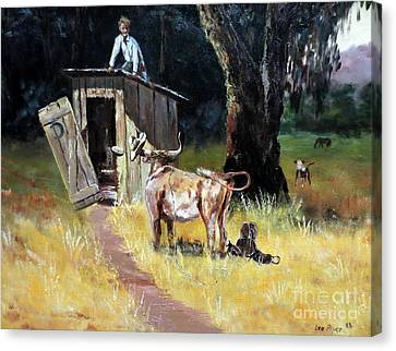 Cowboy On The Outhouse  Canvas Print by Lee Piper