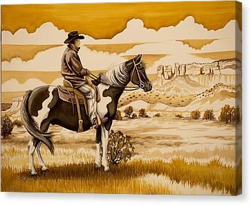 Cowboy On The Range Canvas Print
