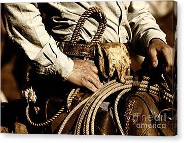 Canvas Print featuring the photograph Cowboy Rides In Sunset Light by Lincoln Rogers