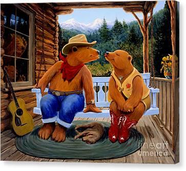 Cowboy Romance Canvas Print by Charles Fennen