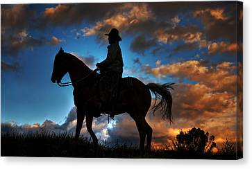 Canvas Print featuring the photograph Cowboy Silhouette by Ken Smith