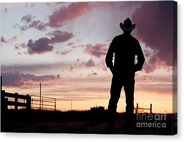 Cowboy Sunset Canvas Print by Cindy Singleton
