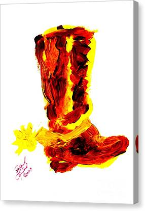 Cowboy Tithing Boot And Spur 5 Canvas Print by Richard W Linford