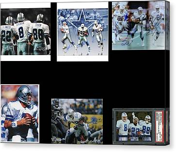 The Three Players That Made The Cowboys A Dynasty In 1990s Era Football Canvas Print - Cowboys Triple Threat  Autographed Reprint by James Nance