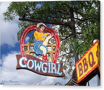 Canvas Print featuring the photograph Cowgirl Cafe by Sylvia Thornton