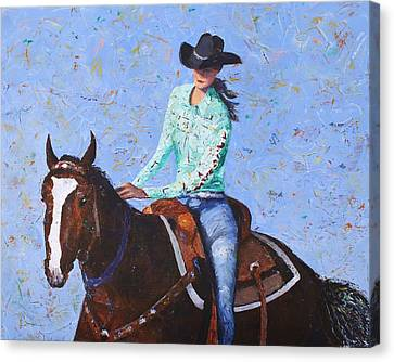 Contemporary Cowgirl Art Canvas Print - Cowgirl by Doug Key