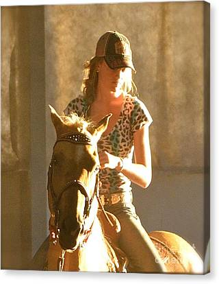 Canvas Print featuring the photograph Cowgirl Silhouette by Barbara Dudley