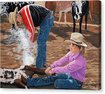 Arizona Cowgirl Canvas Print - Cowgirls Do It Too by Timithy L Gordon
