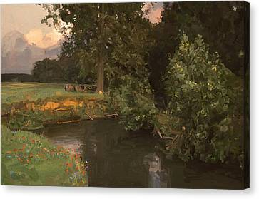 Cows Along The River Canvas Print by Nop Briex