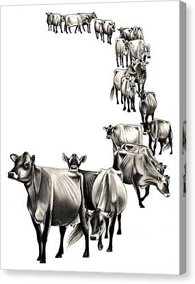 Cow Canvas Print - Cows Come Home by Emma Caldwell
