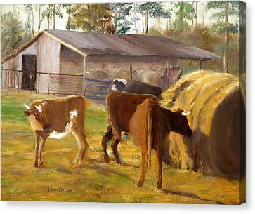 Cows Hay And Barn In Louisiana Canvas Print by Lenora  De Lude