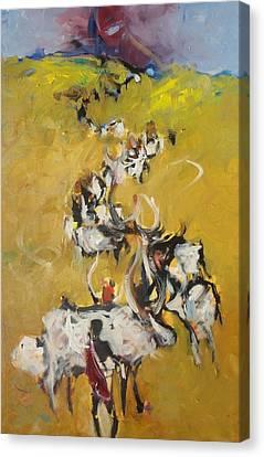 Cows Canvas Print by Negoud Dahab