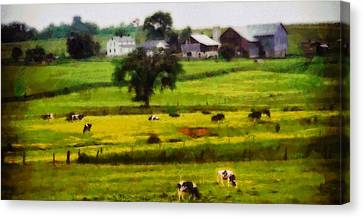 Cows On The Farm Canvas Print by Dan Sproul