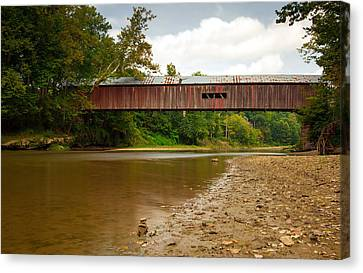 Indiana Landscapes Canvas Print - Cox Covered Bridge by Jackie Novak