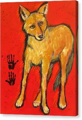 Coyote And Hand Prints Canvas Print by Carol Suzanne Niebuhr