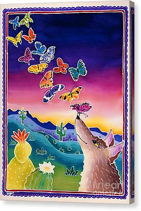 Coyote And The Laughing Butterflies Canvas Print by Harriet Peck Taylor