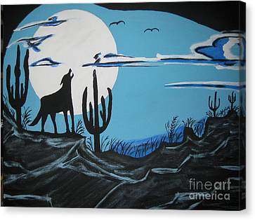 Canvas Print featuring the painting Coyote by Jeffrey Koss