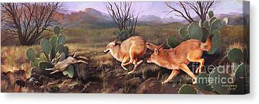 Canvas Print featuring the painting Coyote Run by Rob Corsetti