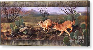 Canvas Print featuring the painting Coyote Run With Boarder by Rob Corsetti
