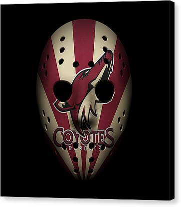 Coyotes Goalie Mask Canvas Print by Joe Hamilton