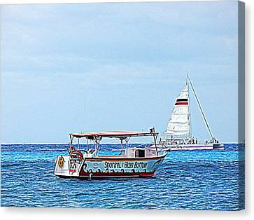 Cozumel Excursion Boats Canvas Print by Debra Martz