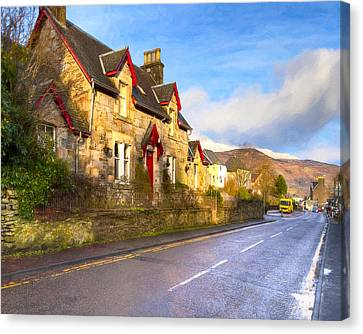 Cozy Cottage In A Scottish Village Canvas Print by Mark E Tisdale