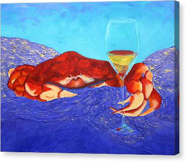 Canvas Print featuring the painting Crab And Chardonnay by Nancy Jolley