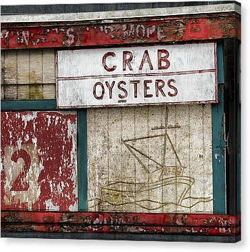 Crab And Oysters Canvas Print by Carol Leigh