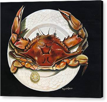 Canvas Print featuring the painting Crab  On Plate by Phyllis Beiser