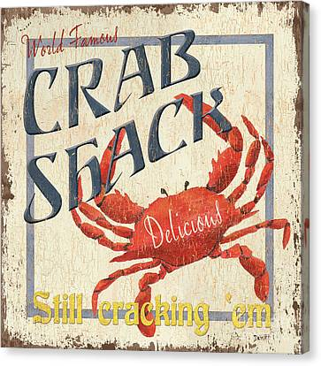 Vintage Sign Canvas Print - Crab Shack by Debbie DeWitt