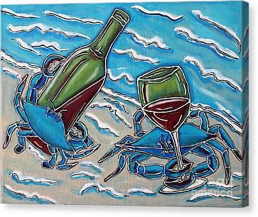 Crab Wine Time Canvas Print