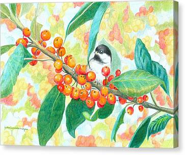 Crabapples With Chickadee Canvas Print by JoAnn   Morgan