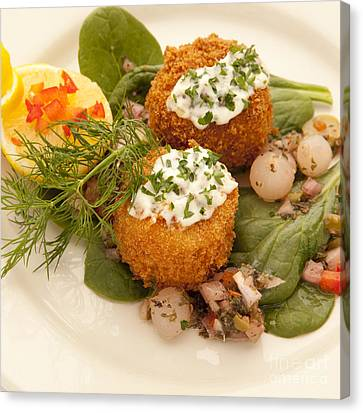 Crabcakes Canvas Print by New  Orleans Food