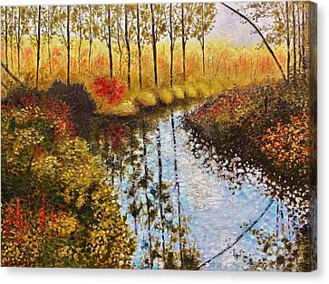 Canvas Print featuring the painting Cranberry Bog by Jason Williamson