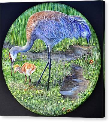 Canvas Print featuring the painting Crane Circle by AnnaJo Vahle