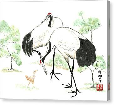 Crane Family Canvas Print